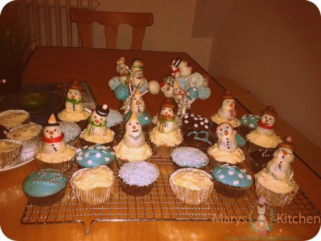schneemann cupcakes