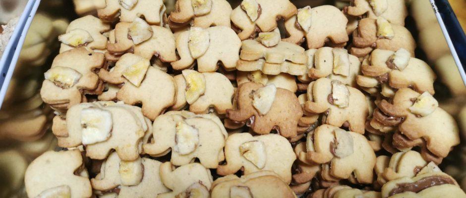 Plätzchenadventskalender Tag 9 Bananen-Nougat-Elefanten